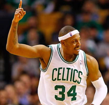Paul Pierce scores 34 points in the double-OT win, becoming the 25th player in NBA history to score 23,000 in his career.  (Getty Images)