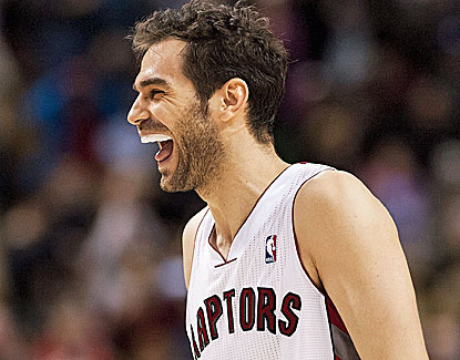 Jose Calderon can be forgiven for smiling as he scores 18 points to go with 14 assists and 10 boards. (AP)