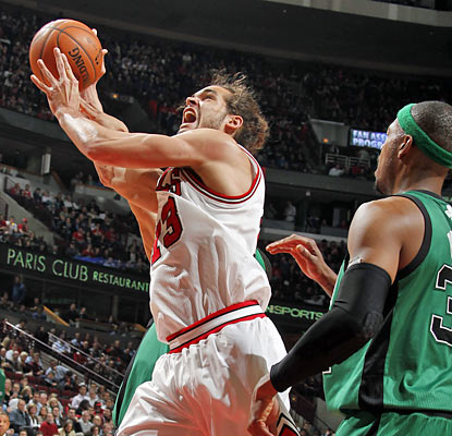Joakim Noah collects his second career triple-double with 11 points, 13 rebounds and 10 assists against the Celtics. (Getty Images)