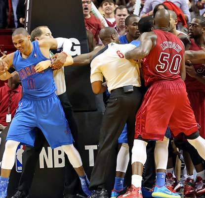 Russell Westbrook's Thunder and the Heat get feisty in their first meeting since Miami won the title.  (Getty Images)