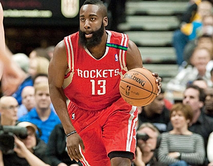 James Harden scores 17 of his 30 points in the fourth quarter, helping lock up the road win for Houston. (US Presswire)