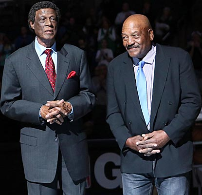 Elgin Baylor (left) and NFL legend Jim Brown are among those honored for their legacies in sports and civil rights on Monday. (US Presswire)