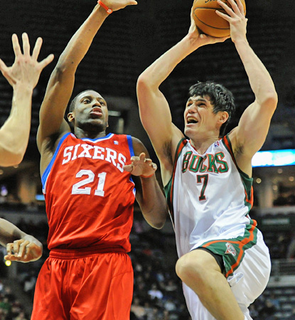 Ersan Ilyasova (right) scores 27 points and grabs 16 rebounds to lead the Bucks over the reeling 76ers. (US Presswire)