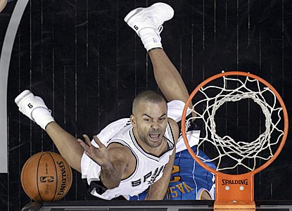 Tony Parker, scores during the first quarter and winds up with 24 points on 10-of-18 shooting.  (AP)