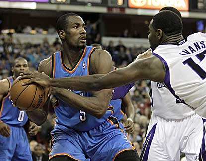 Serge Ibaka scores 14 points and grabs eight rebounds as the Thunder pull away from Sacramento. (AP)