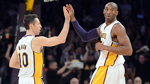 In the Lakers' new 'system,' Steve Nash has had to hand off point-guard duties to Kobe Bryant. (Getty Images)