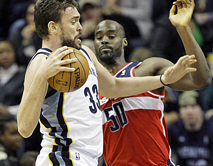 Memphis center Marc Gasol scores 13 points, grabs 15 rebounds and dishes out 5 assists against the Wizards. (AP)