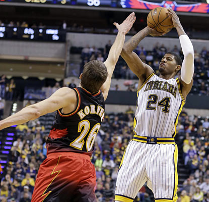 Paul George torments the Hawks with a 29-point effort as the Pacers win their fourth straight. (AP)