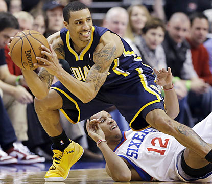 George Hill is one of four Pacers to finish with at least 15 points, and one of three Pacers with five or more assists. (AP)