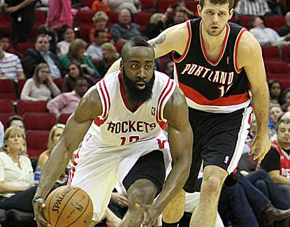 James Harden lights up the Blazers for 35 points and 11 assists as Houston cruises past Portland. (US Presswire)