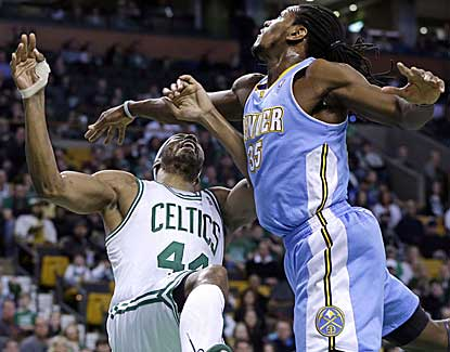Boston's Chris Wilcox takes a shot from Denver's Kenneth Faried as the teams battle for 3 OTs. (AP)