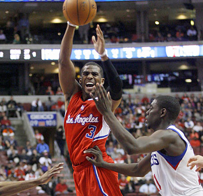 Chris Paul creates havoc on offense as he scores 21 points while also dishing out 11 assists against the 76ers. (AP)