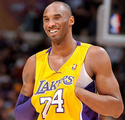 Kobe Bryant can only laugh as he produces an uncharacteristic four-point effort on 1 of 8 shooting. (Getty Images)