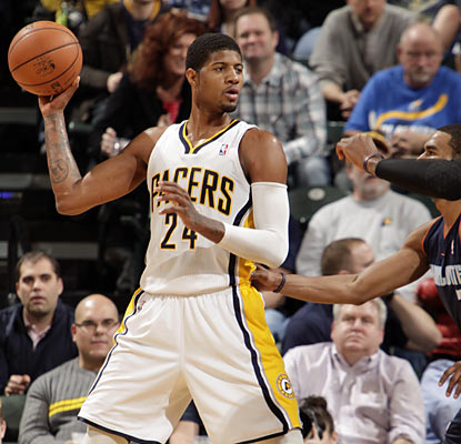Paul George (23-12-12) helps the Pacers roll past the Bobcats with a triple-double, his second of the season. (Getty Images)
