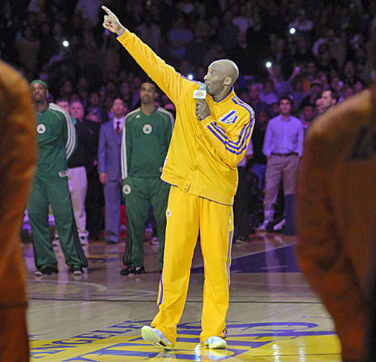 Kobe on the late Jerry Buss before the game: 'He was a brilliant, incredible owner but an even better person.' (AP)