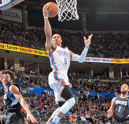 Russell Westbrook goes for a season-best 37 points to help boost the Thunder back into the win column.  (Getty Images)