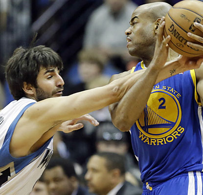Ricky Rubio (16 points, 11 assists, eight boards) can't do enough to stop Jarrett Jack (23 points) and the Warriors. (AP)