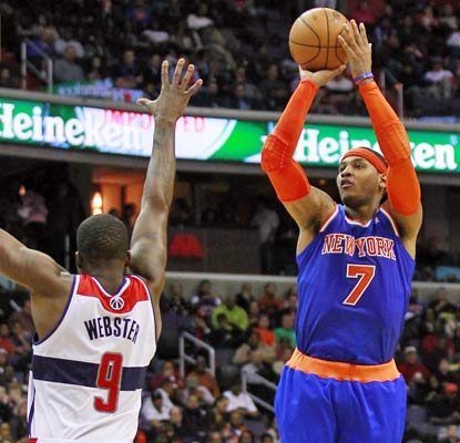 Carmelo Anthony puts up 30 points against the Wizards to help the Knicks win their third game in a row. (USATSI)