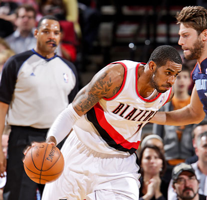 LaMarcus Aldridge imposes his will on the Bobcats. The Blazers power forward finishes with 23 points and 14 rebounds. (Getty Images)