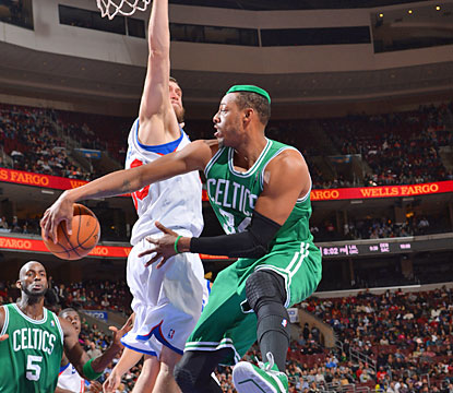 Paul Pierce fills the stat sheet against the 76ers with 18 points, 11 rebounds and seven assists. (Getty Images)