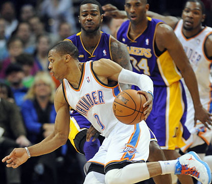 Russell Westbrook shreds the Lakers with 37 points, 10 rebounds and five assists. (USATSI)