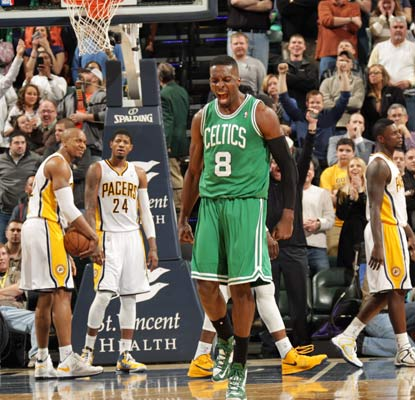 Jeff Green is pumped after hitting the deciding shot in the Celtics' gritty win over the Pacers.  (Getty Images)