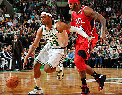 Paul Pierce puts on a vintage showing against the Hawks, finishing with 27 points, seven rebounds and seven assists. (Getty Images)