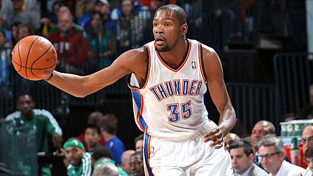 Thunder star Kevin Durant was among those who made time to speak with Trey Johnson. (Getty Images)