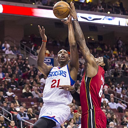 Thaddeus Young (24 points) and the Sixers give LeBron James and the Heat their best shot, but Miami pulls out the victory.  (USATSI)