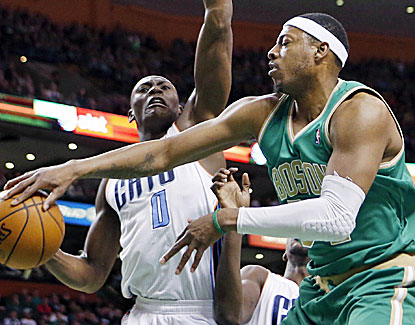 Paul Pierce scores 14 points to go with eight assists and six rebounds before sitting out the fourth quarter. (AP)