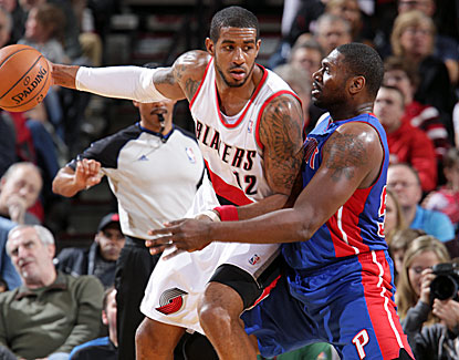 Portland's LaMarcus Aldridge lights up the Detroit defense for 31 points and also grabs 12 rebounds. (Getty Images)