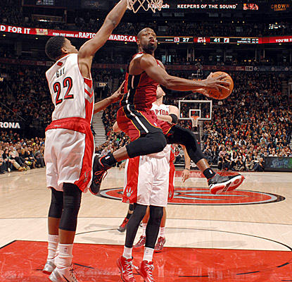 Dwyane Wade leads the Heat again in Toronto, scoring 24 points on 10-of-15 shooting and dishing a team-high nine assists. (Getty Images)