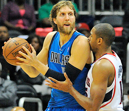 Dirk Nowitzki, who scores 22 points, is one of six Mavericks to score in double figures against the Hawks. (USATSI)