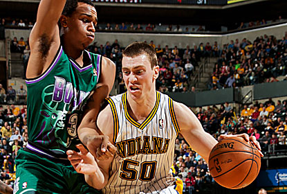 Tyler Hansbrough leads the way with 22 points and 12 rebounds for the Pacers, who pick up their third win in a row. (Getty Images)