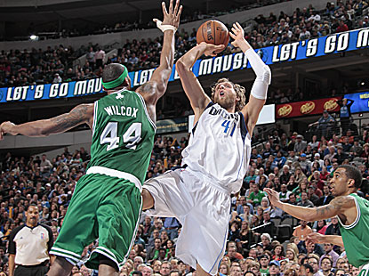 Dirk Nowitzki goes for 22 points and seven rebounds as the Mavericks defeat the Celtics. (Getty Images)