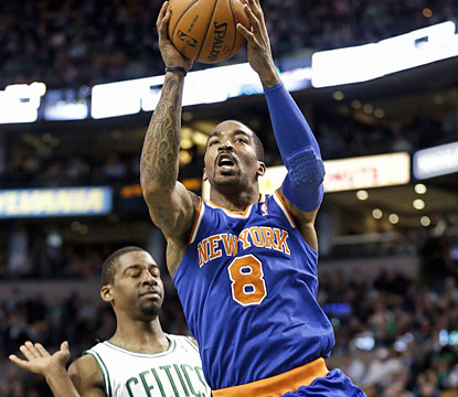 J.R. Smith shoots 13 of 24 from the field and scores a game-high 32 points for the surging Knicks. (AP)