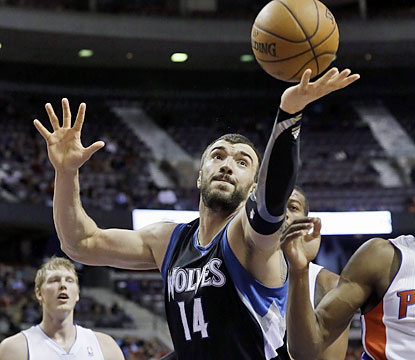 Nikola Pekovic (18 points, 11 boards) helps the Wolves earn a rare road win, while handing the Pistons another loss in Detroit. (AP)