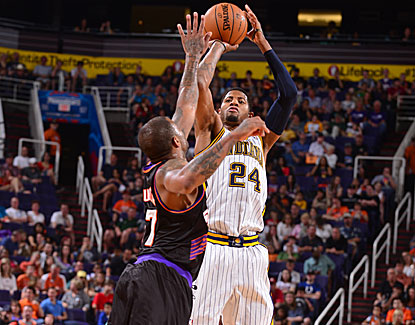 All five Pacers starters hit double figures, including Paul George with 25 in a 112-104 win in Phoenix. (Getty Images)