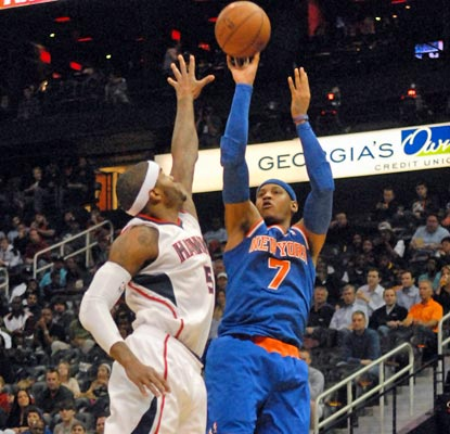 Carmelo Anthony has 90 points in his last two games. He drains 17 of 27 shots against the Hawks en route to 40.  (USATSI)