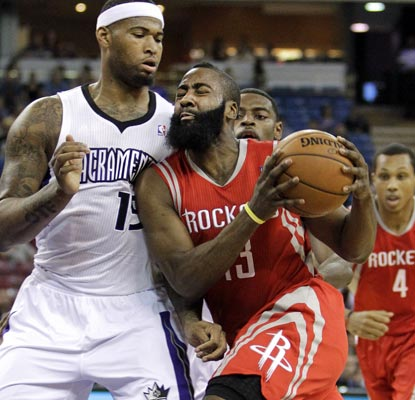 The Rockets are glad to have James Harden back. Harden scores 21 points, grabs nine boards and has seven assists.   (AP)