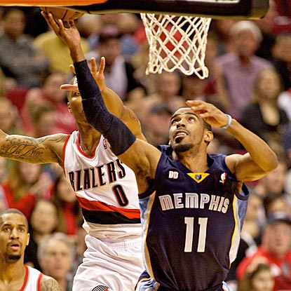 Portland's Damian Lillard (0) is too late to defend against Mike Conley's drive to the basket.  (USATSI)