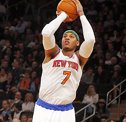 Carmelo Anthony keeps up his torrid pace, scoring 41 points for his third consecutive 40-point game.  (USATSI)