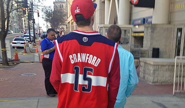 A fan at the Verizon Center in Washington offers proof of Jordan as a Wizard. (Zach Harper photo)