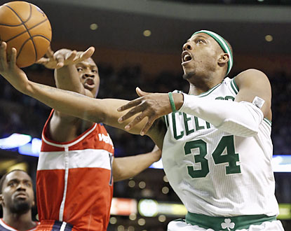 Paul Pierce returns to action and puts up 15 points, along with five assists and four rebounds against Washington. (AP)