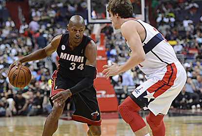 With Miami down several key players, Ray Allen does the heavy lifting and finishes with 23 points, six boards and four dimes. (Getty Images)