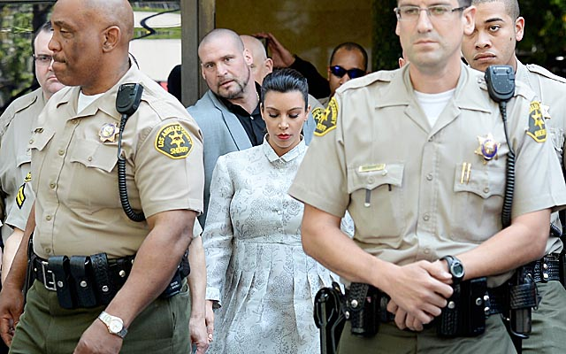 Kim Kardashian leaves a Los Angeles courthouse after a hearing in her divorce case. (Getty Images)