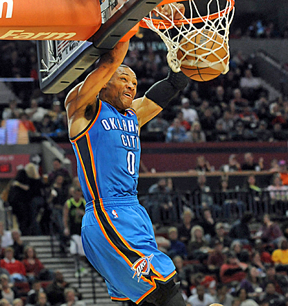 Russell Westbrook scores 33 points as the Thunder continue their race for the No. 1 seed.  (USATSI)