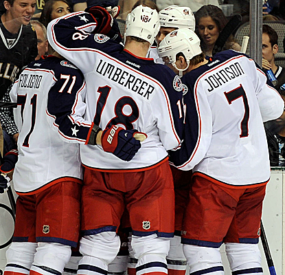 The Blue Jackets celebrate a goal in their victory over the Stars, which keeps them tied for the 8th playoff spot.  (USATSI)