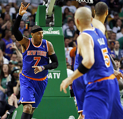 Carmelo Anthony scores 26 points, but it's the Knicks' defense that completely shuts down the Celtics.  (USATSI)