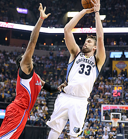 Marc Gasol matches Zach Randolph's 24 points as the Grizzlies control the paint to tie the series.  (Getty Images)